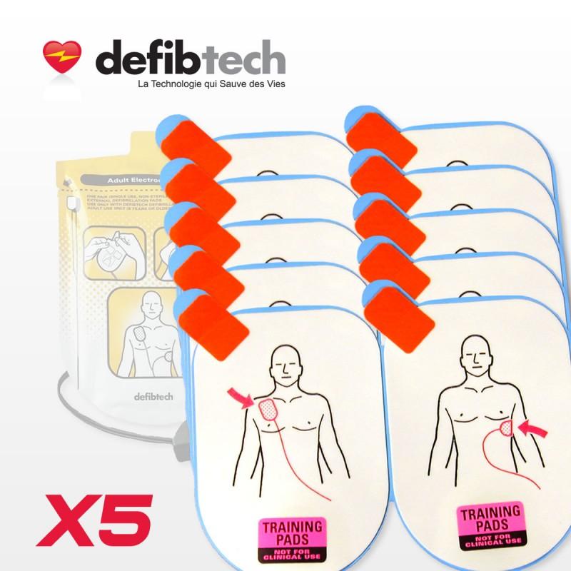 Lot de 5 paires d'électrodes Adultes DEFIBTECH