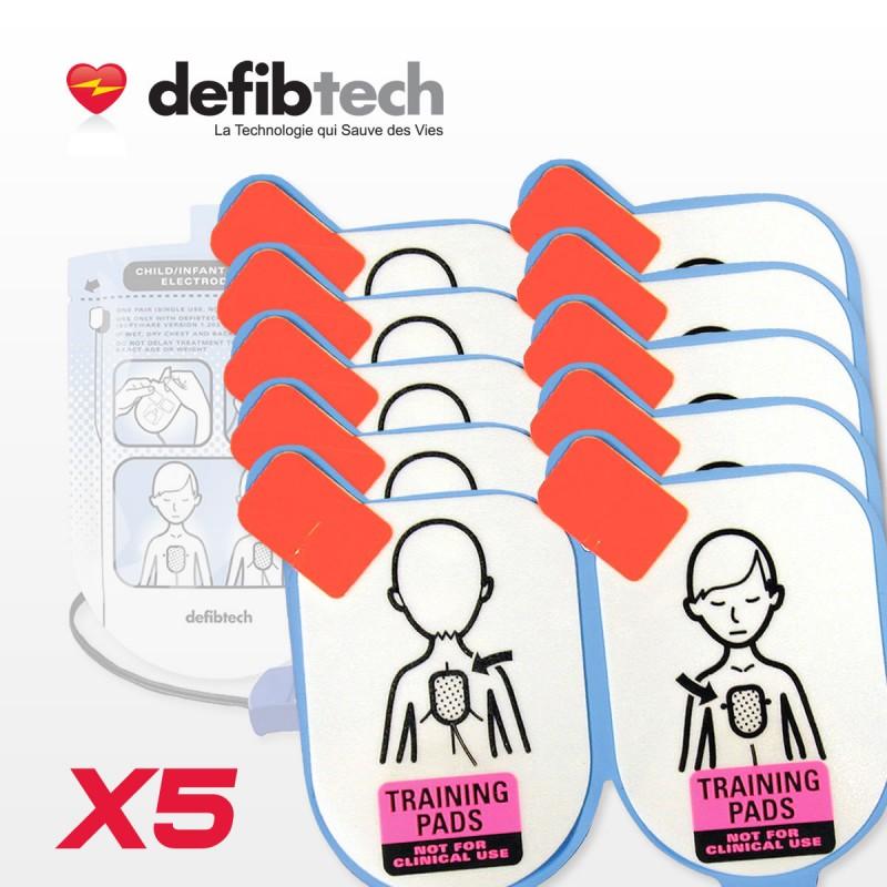 Lot de 5 paires d'électrodes Pédiatriques DEFIBTECH